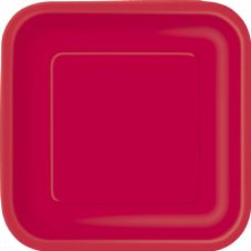 "16 Red Paper Party Plates 7""/23cm Square"